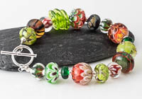 Red and Green Lampwork Bracelet