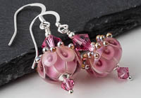 Pink and Gold Lampwork Earrings`