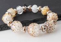 Golden Lampwork Dahlia Bead Set