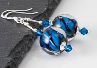 Blue Twisty Lampwork Earrings