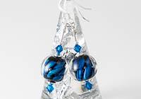 Blue Twisty Lampwork Earrings alternative view 1