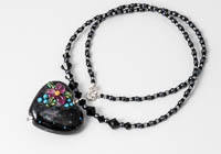 "Black Lampwork Necklace ""Ursula"" alternative view 1"