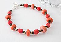 Coral Lampwork Bracelet