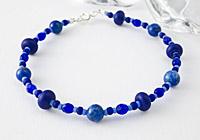 Lapis Lazuli Lampwork Bracelet